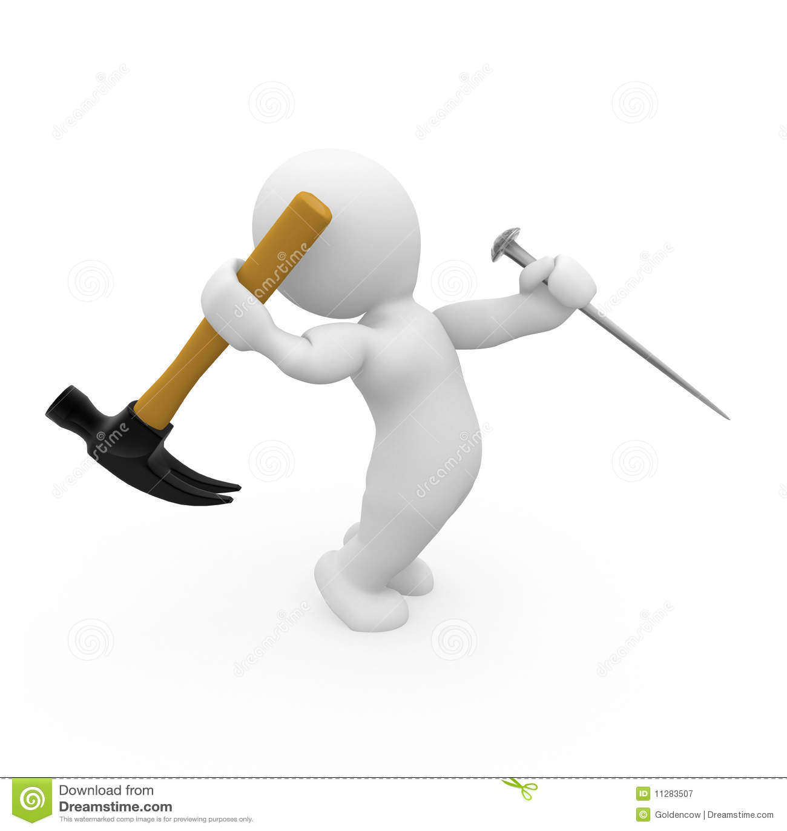 3d Hammer Hitting A Nail Stock Illustration
