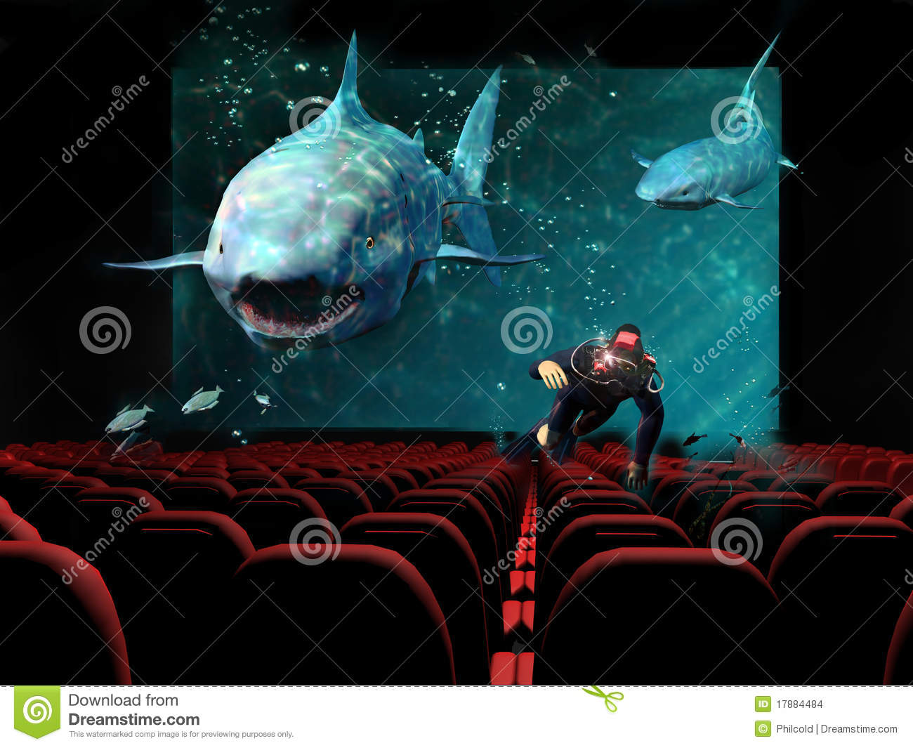 3D cinema stock illustration Image of shark perspective  17884484