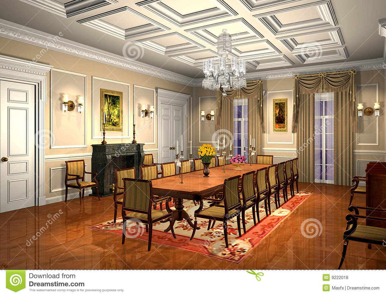 3D Classic Dining Room Stock Illustration Illustration Of