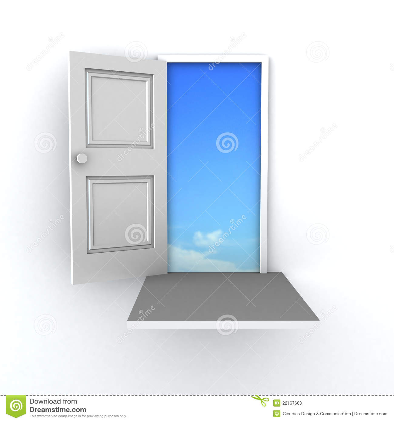 3D door to success stock illustration. Illustration of above - 22167608