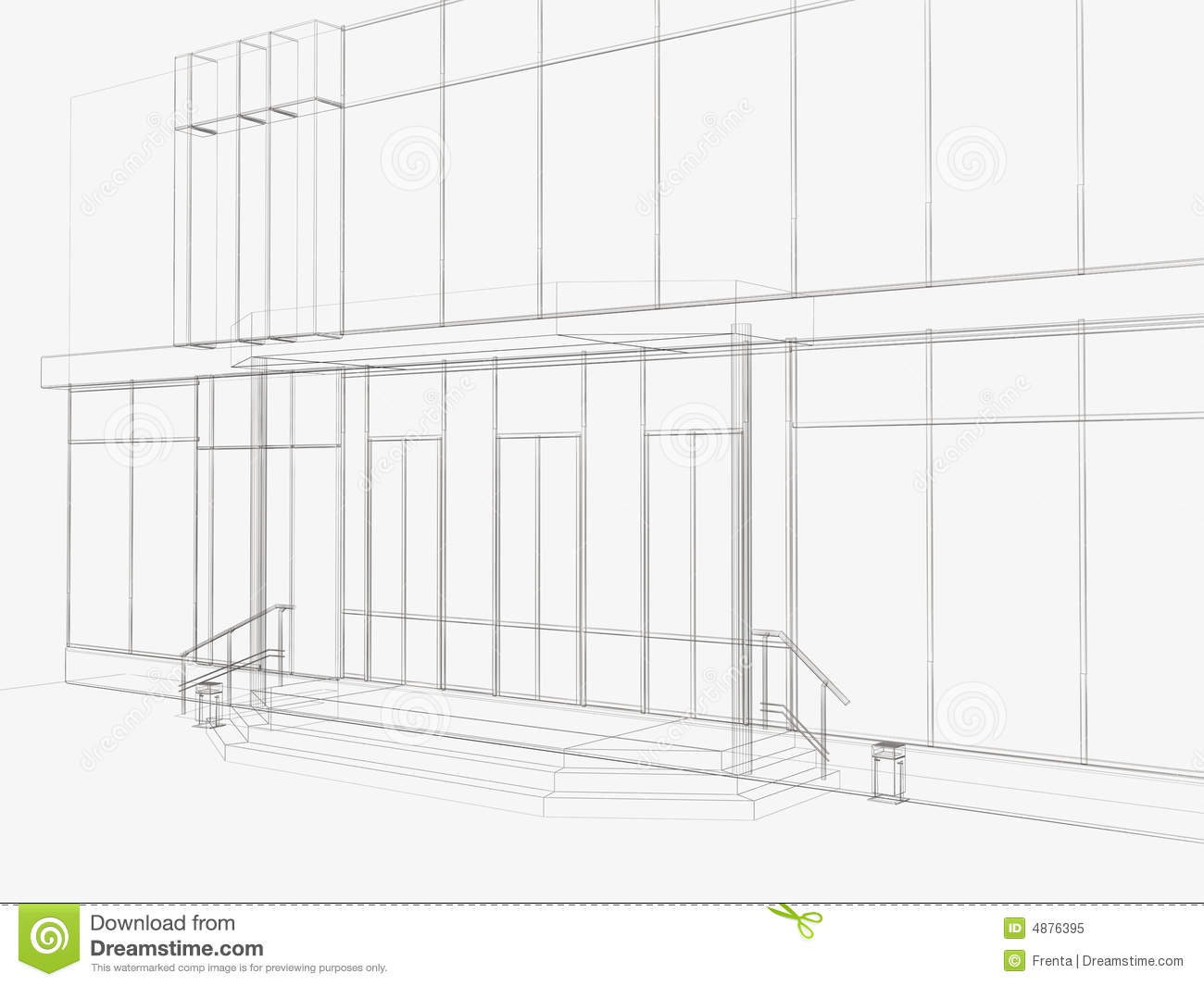 3d Drawing Of An Entrance In Shop Royalty Free Stock Photo