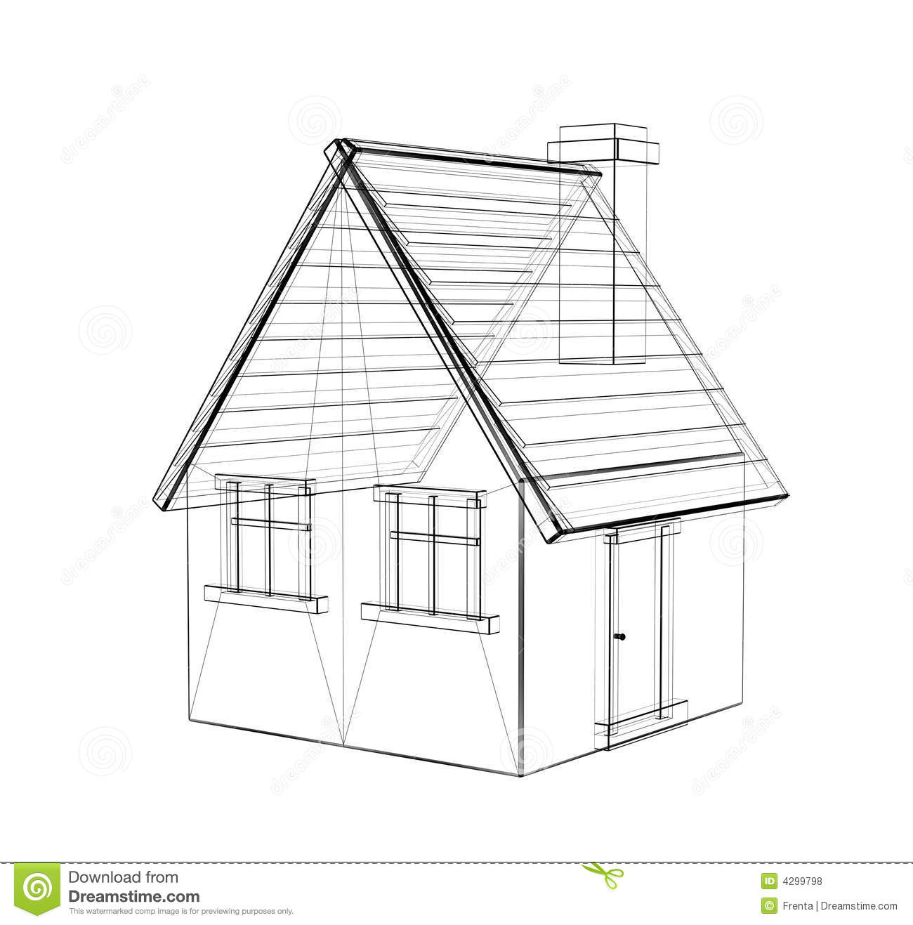 The 3d Drawing Of A Rural House Stock Illustration