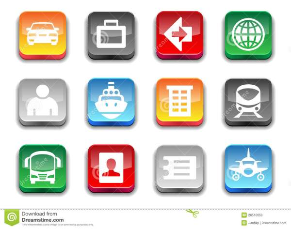 3d Glossy Simple Travel Icons Royalty Free Stock Images