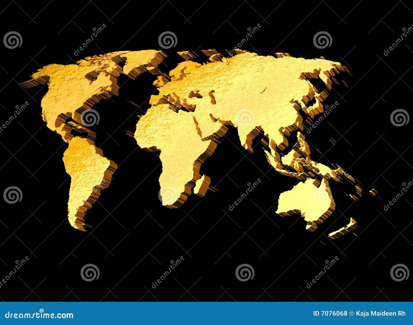 Africa Map 3d Wallpaper 3d Gold World Map Stock Illustration Image Of Australia