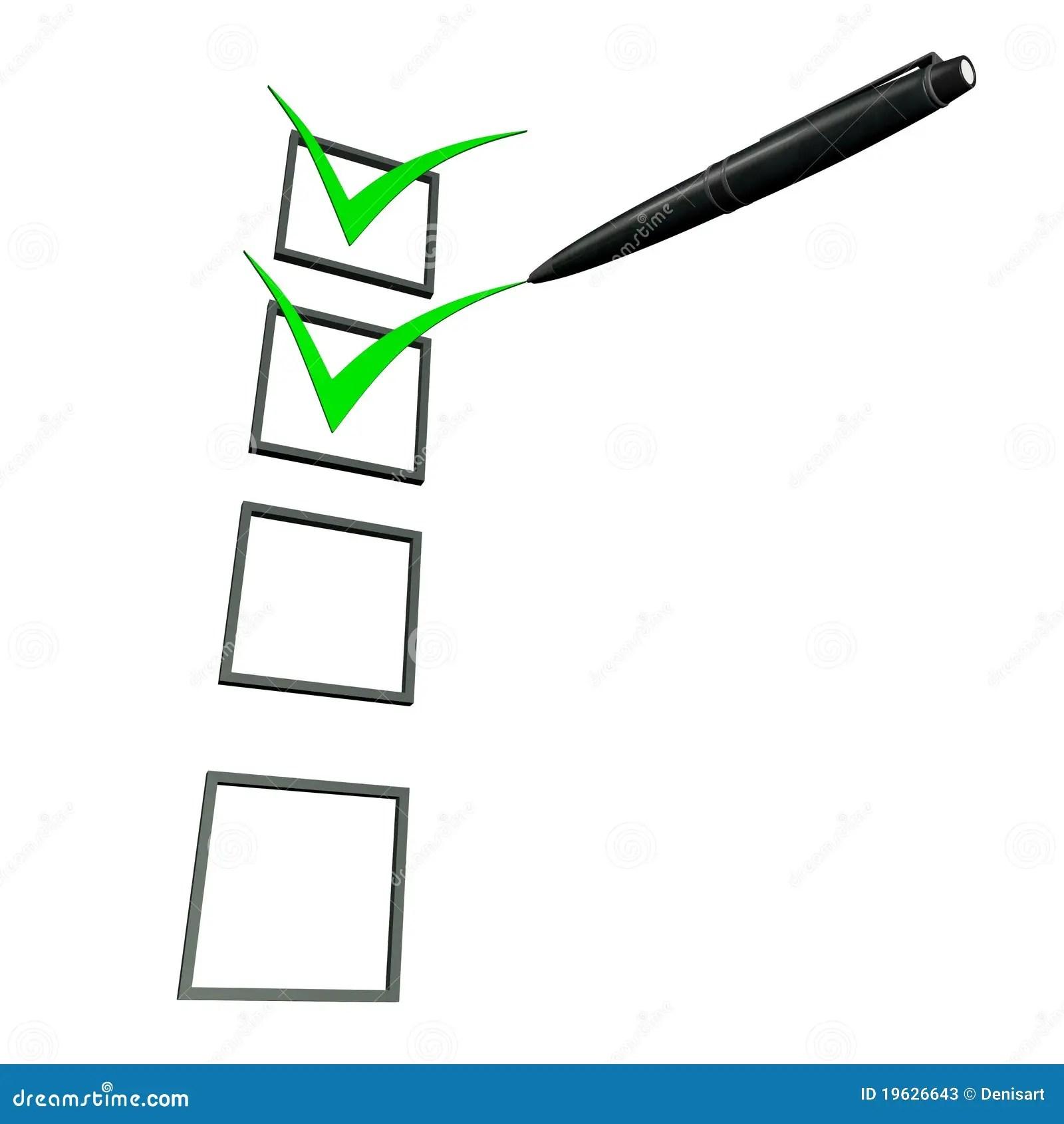3d Green Check Box Pen Stock Photos