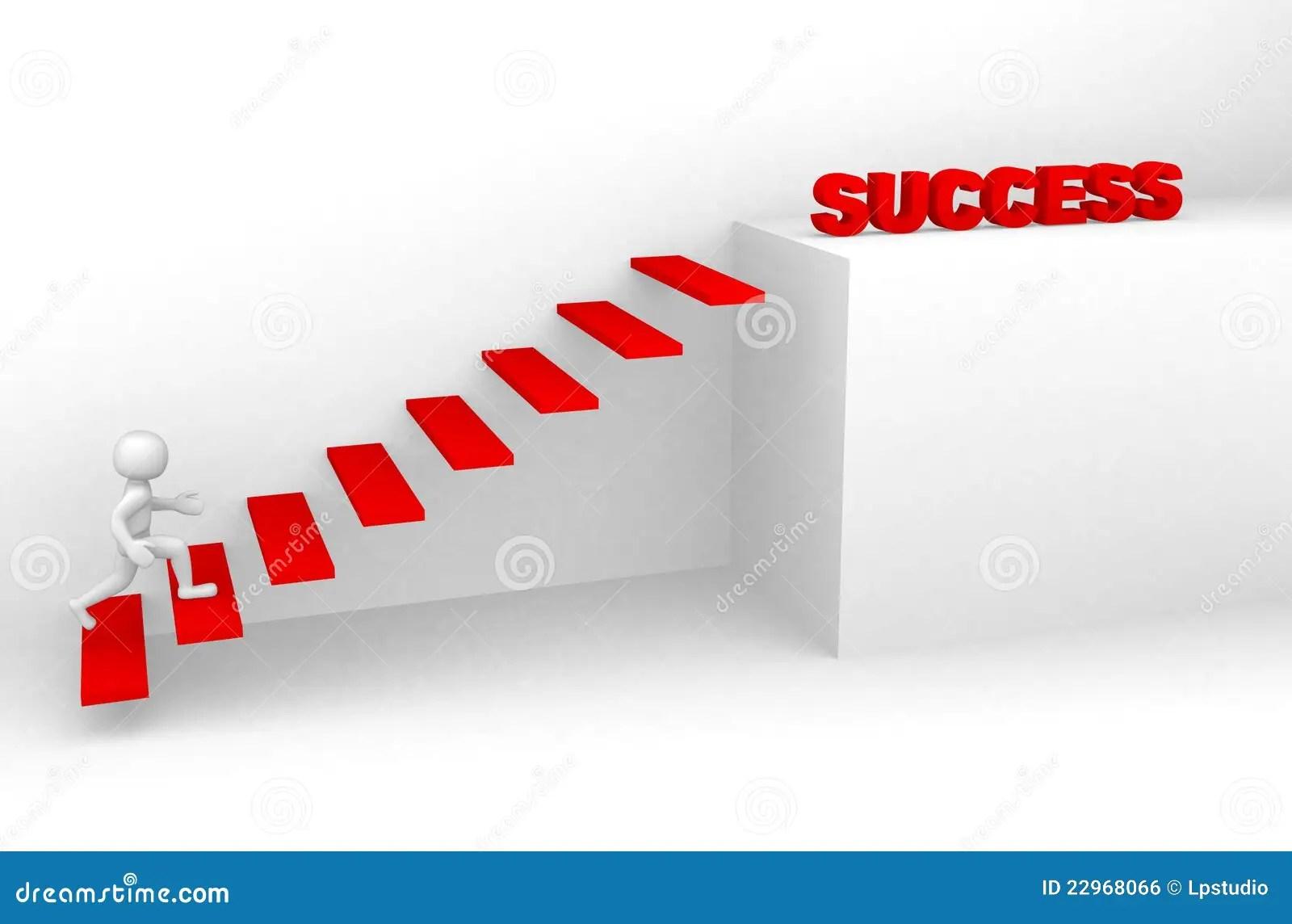 3d Man Climbs The Ladder Of Success Stock Illustration
