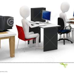 Office Chair Illustration Xxl Wheelchair 3d Man With Computer Evolution Concept Stock - Image: 28460922