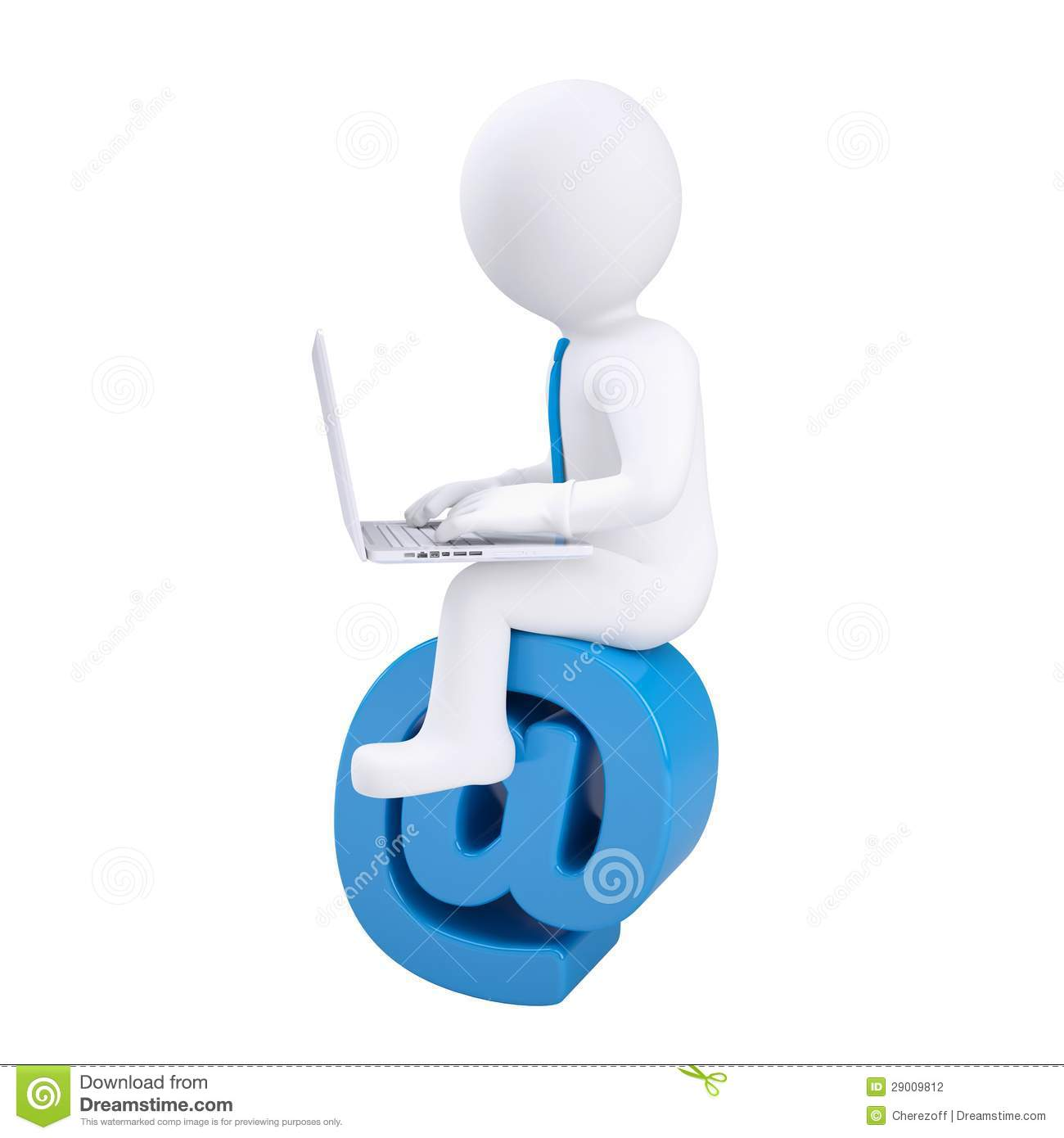 3d Man With Laptop Sitting On The Email Icon Stock
