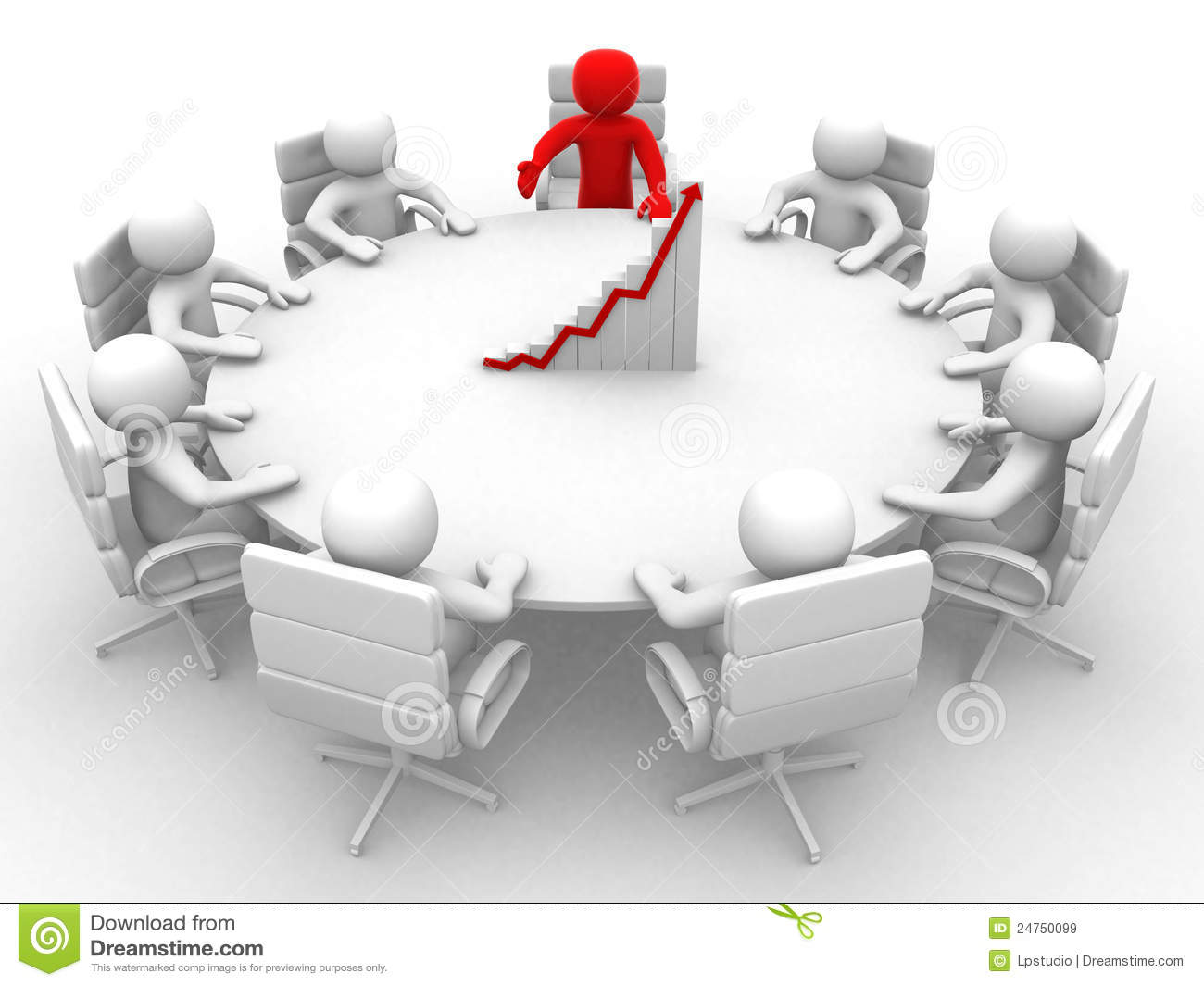 3d Man Sitting At A Round Table And Having Business