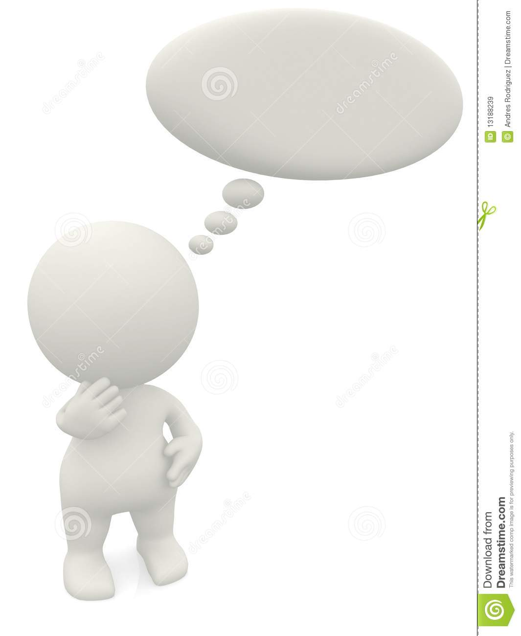3D Man With A Thought Bubble Stock Illustration