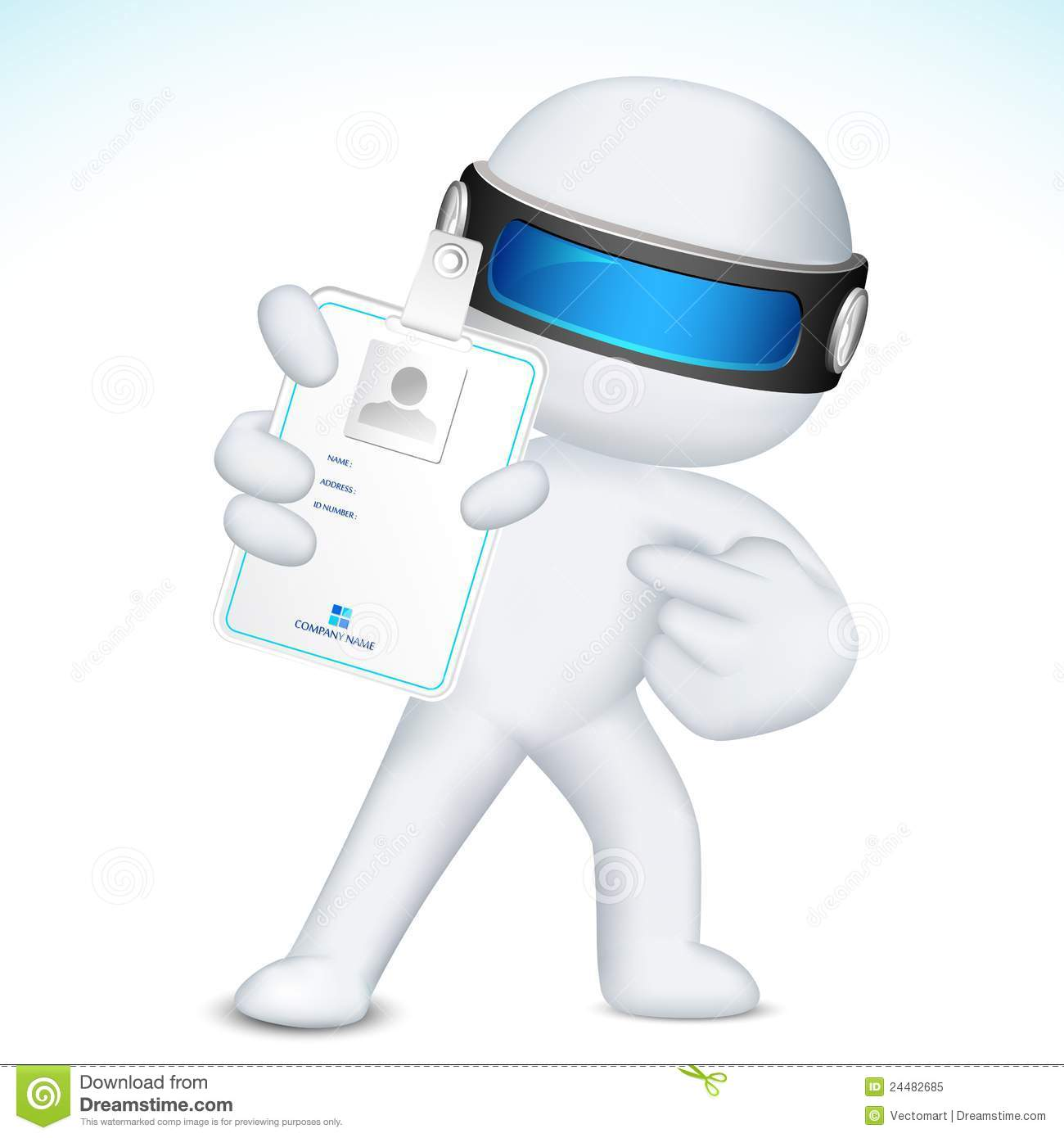 3d man in vector showing identity card stock vector