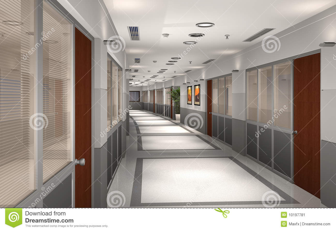3D modern office hallway stock illustration Illustration