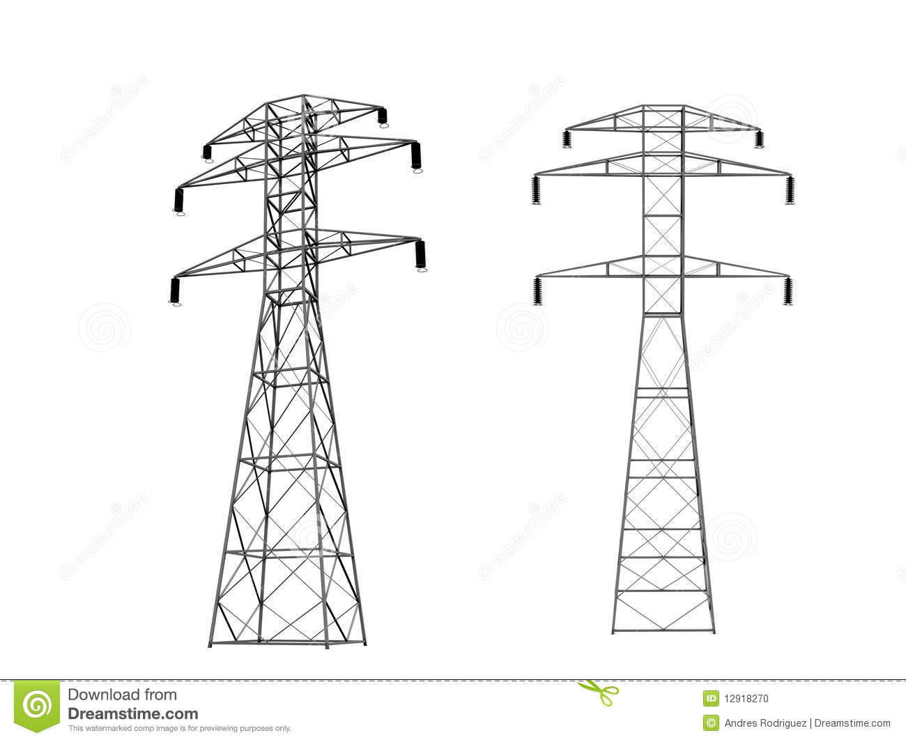 3d Power Towers Stock Illustration Illustration Of Source