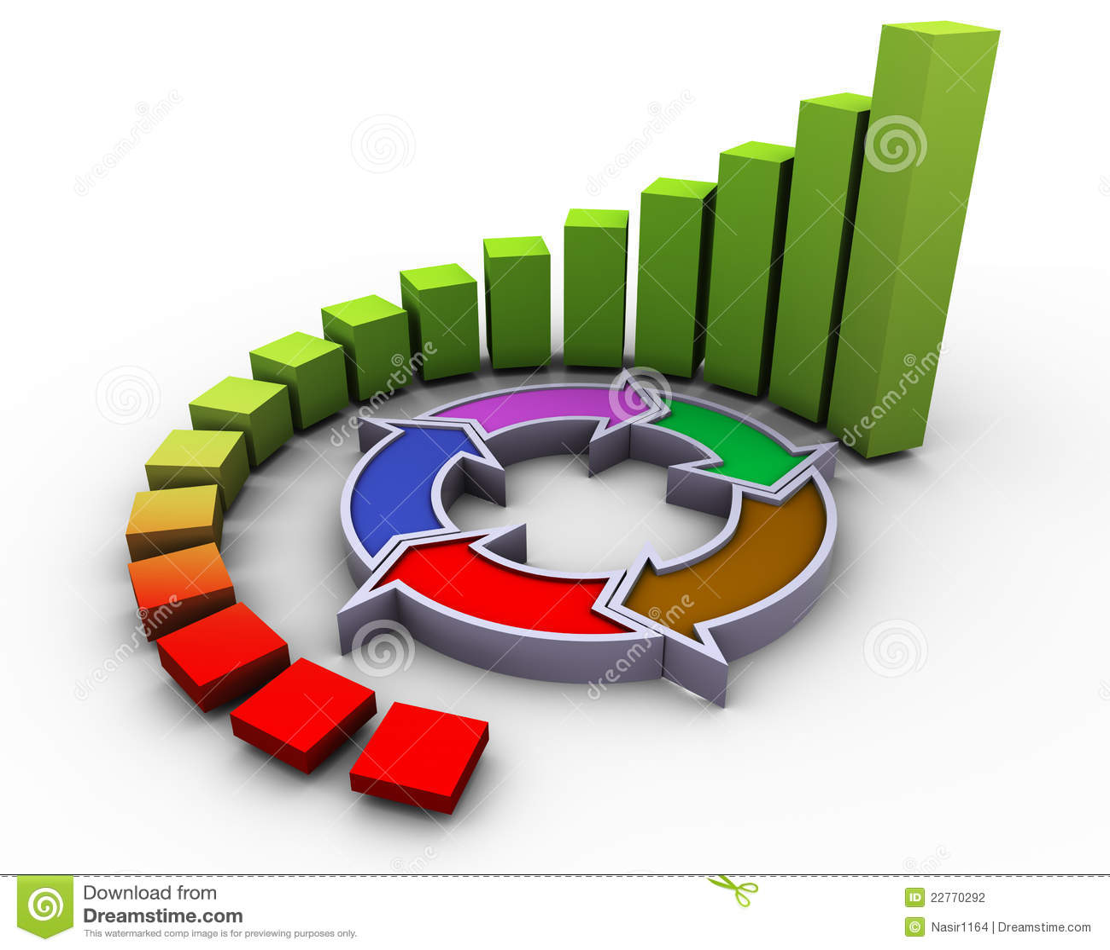 hight resolution of 3d circular progress bars with flow diagram