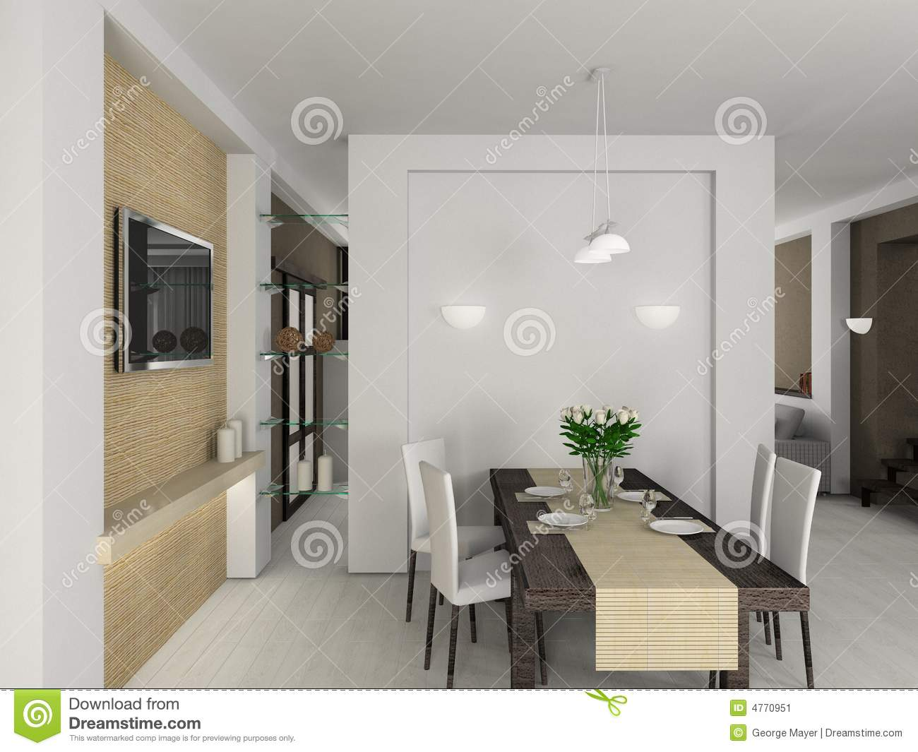 3D Render Modern Interior Of Diningroom Stock Image