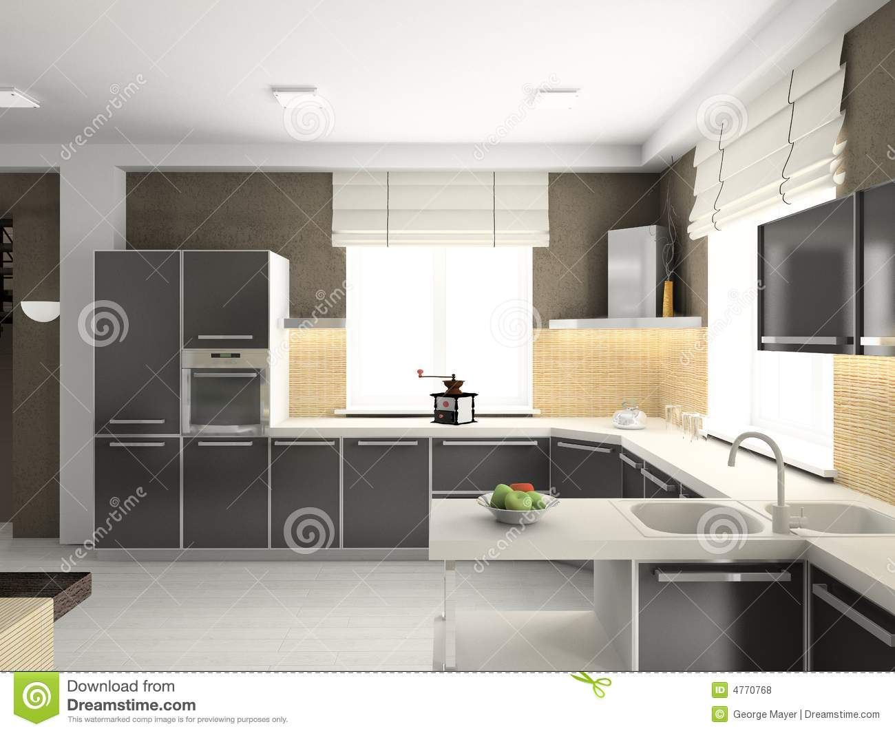 3D Render Modern Interior Of Kitchen Stock Photo  Image