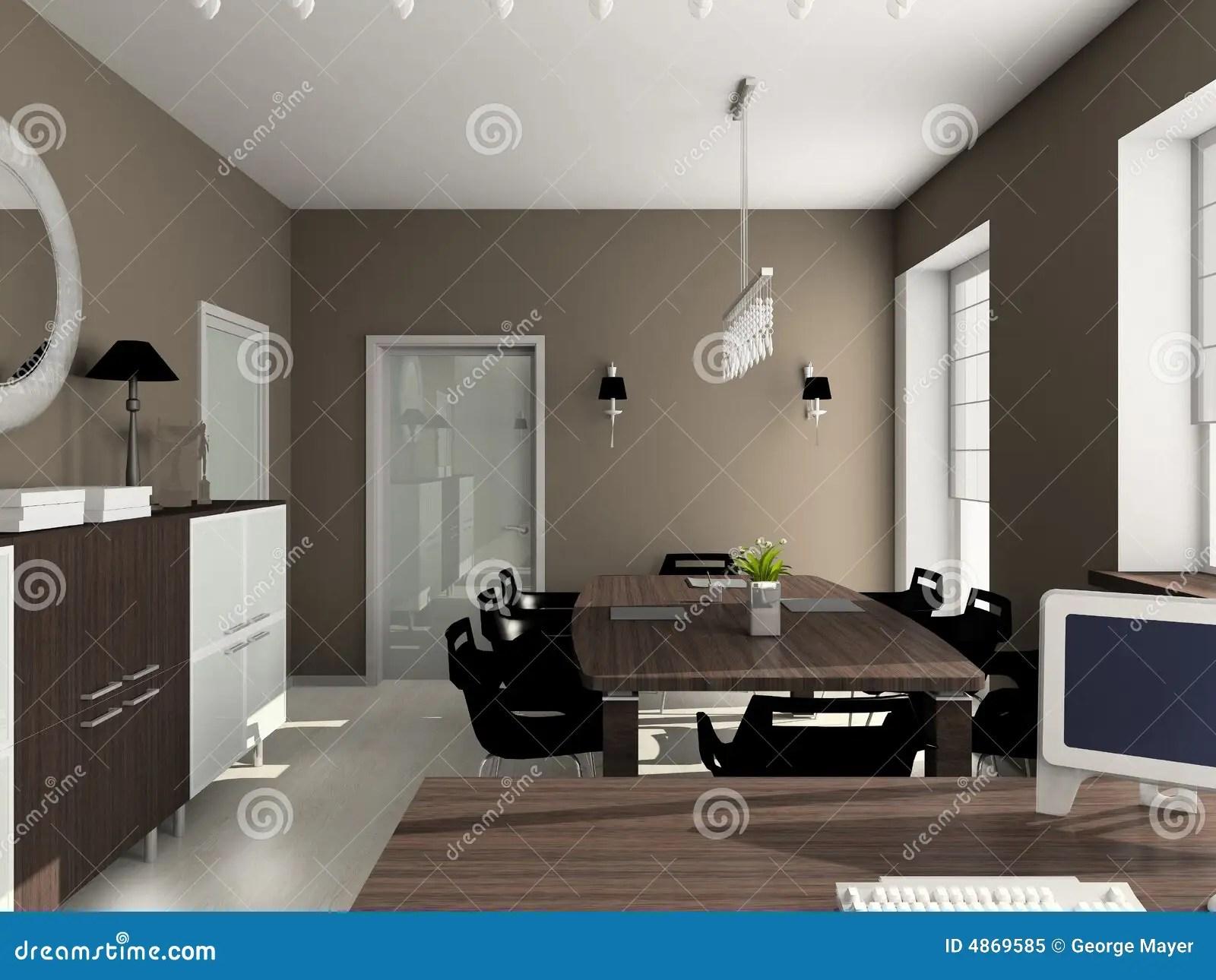 3D Render Modern Interior Of Office Stock Illustration