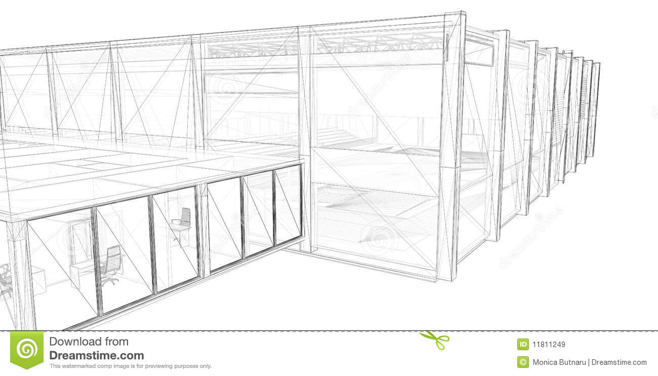 3D Rendering Wire-frame Of Building. Stock Illustration