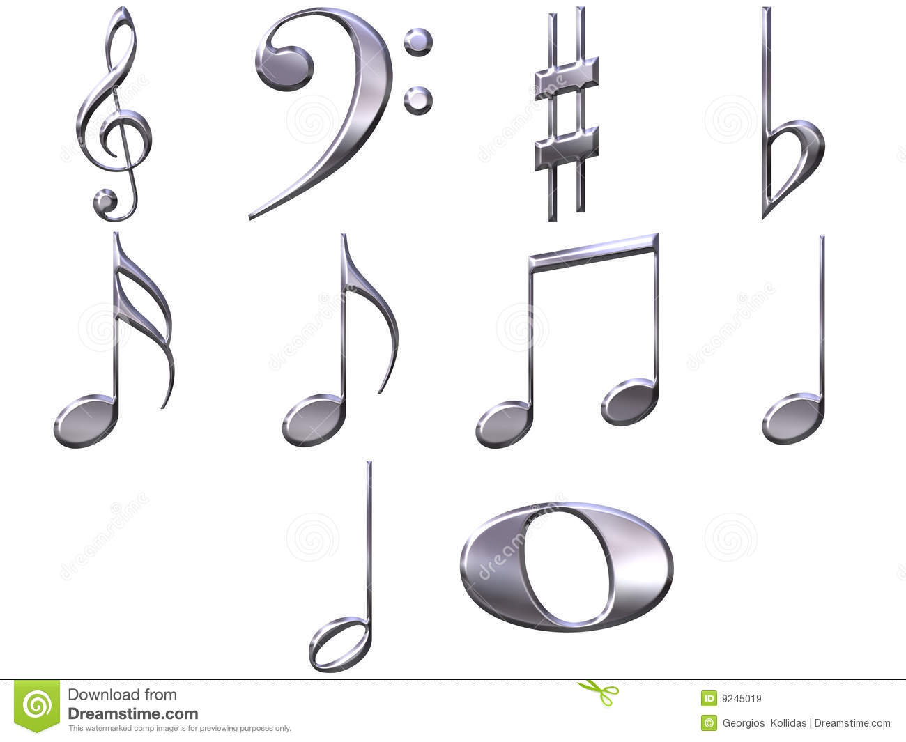 3d Silver Music Notes Stock Illustration Image Of