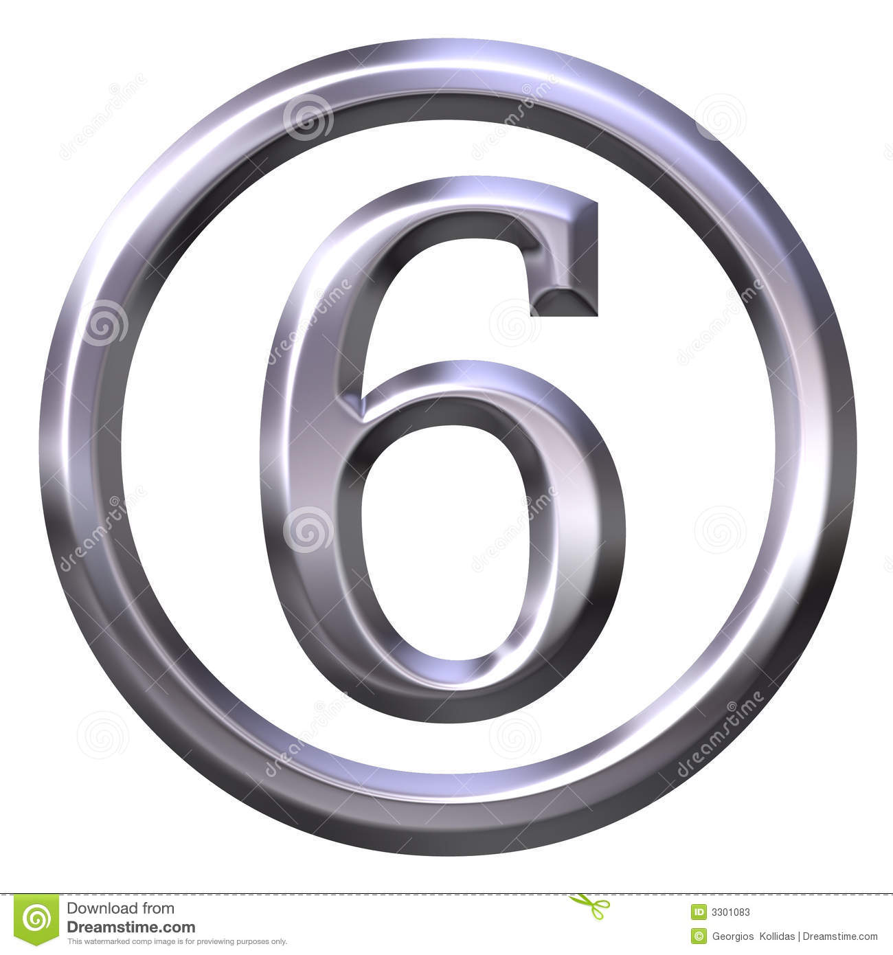 3d Silver Number 6 Stock Illustration Image Of Sixth