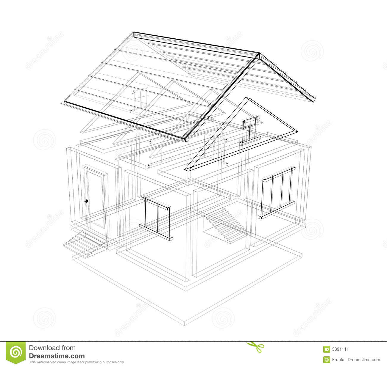 3d sketch of a house stock illustration. Illustration of
