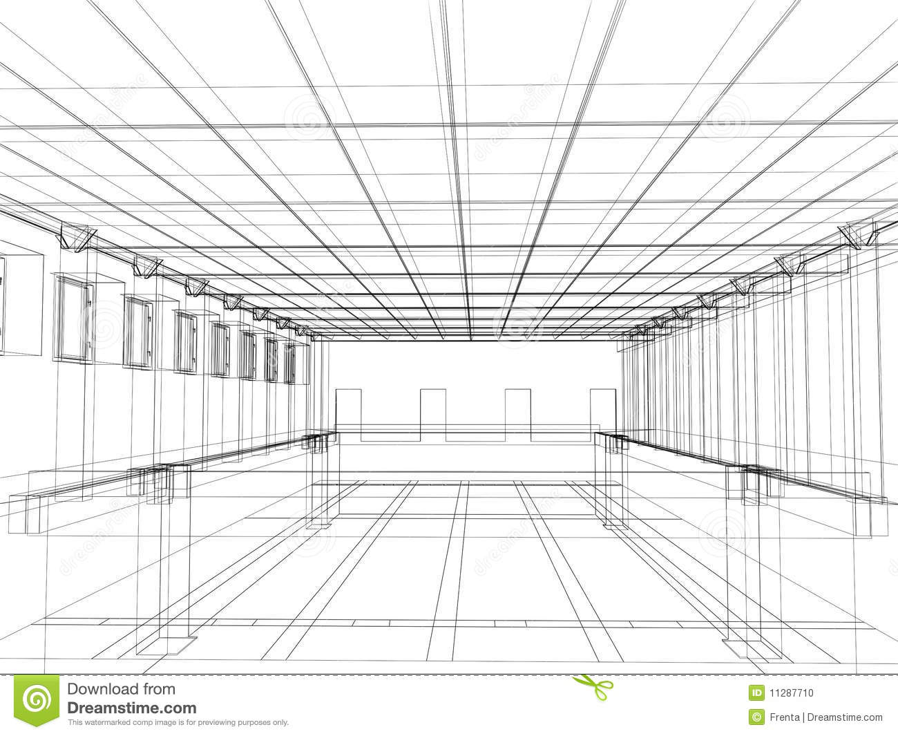 3d Sketch Of An Interior Of A Public Building Stock