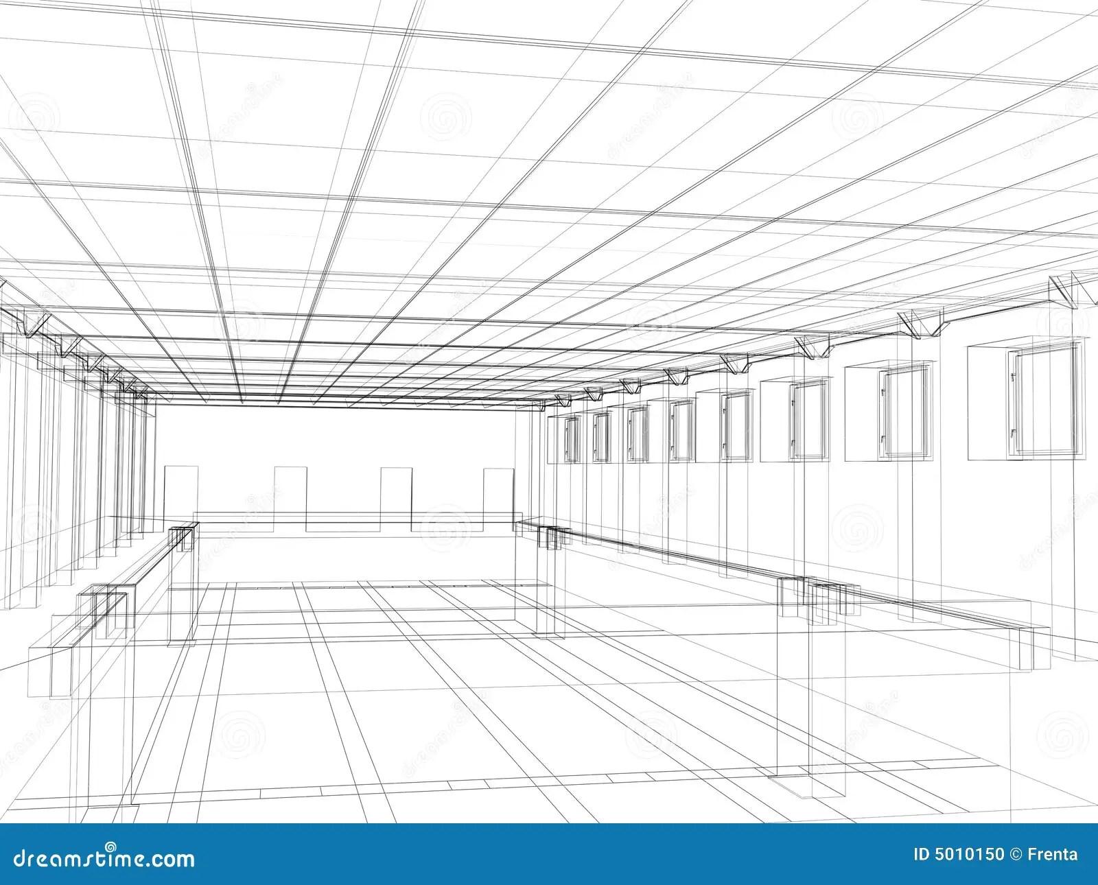 3d Sketch Of An Interior Public Building Stock Photo