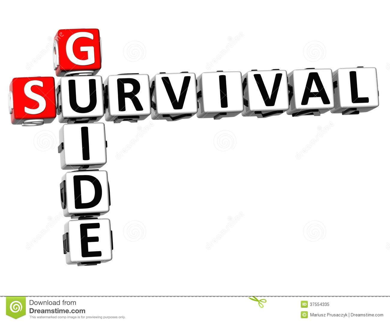 3D Survival Guide Crossword Royalty Free Stock Photo
