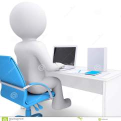 Desk Chair Office Max Poppy High Cover 3d White Man Working At A Laptop. On The Table In Box Royalty Free Stock Images - Image ...