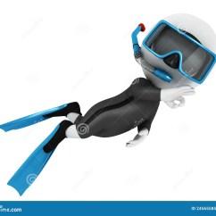 Scuba Gear Diagram Allen Bradley 2100 Mcc Wiring Diagrams 3d White People Diver Royalty Free Stock Photo