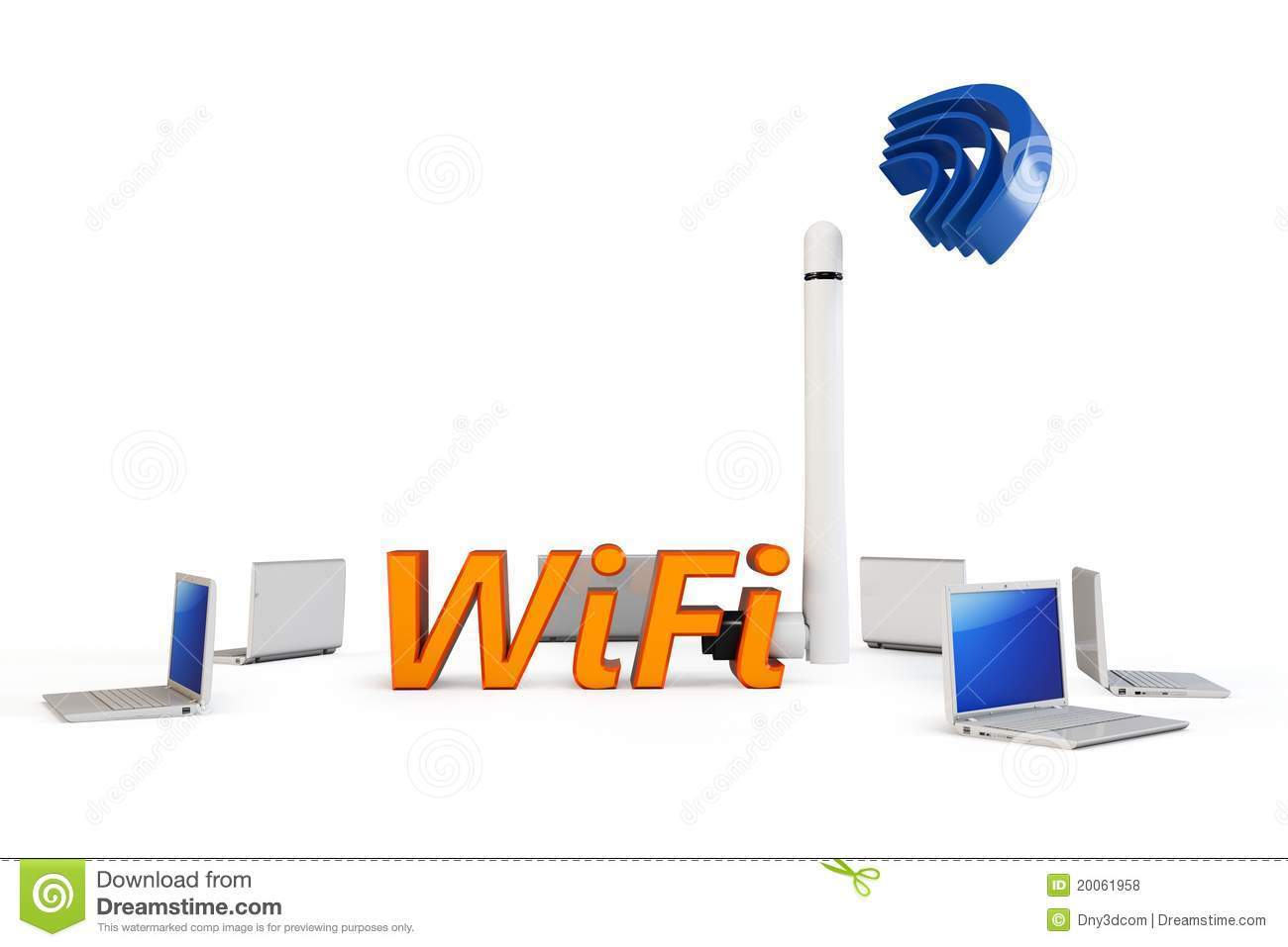 hight resolution of 3d wifi hotspot with laptops