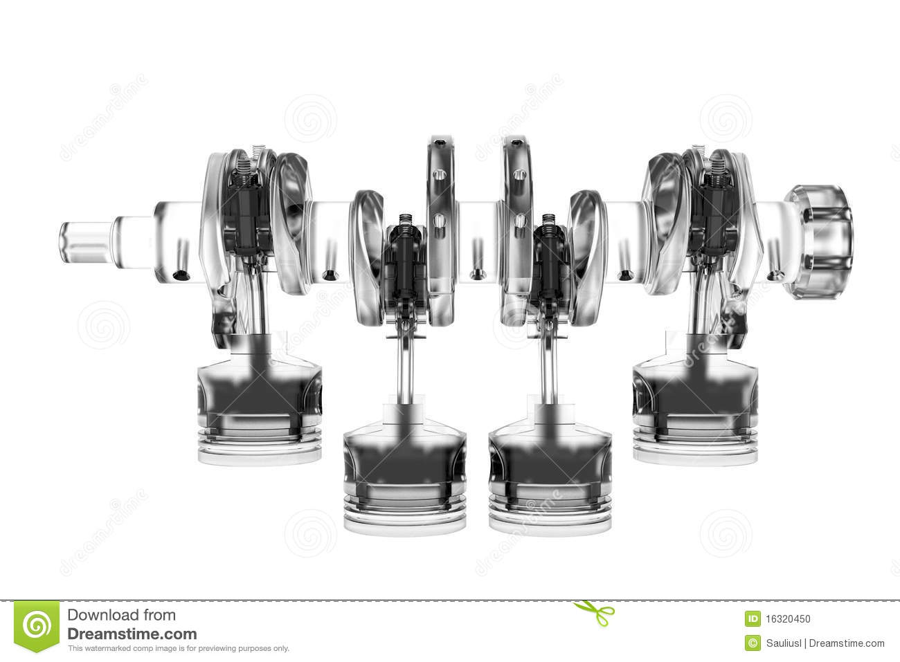 4 Cylinder Crank 3d Rendered White Stock Illustration