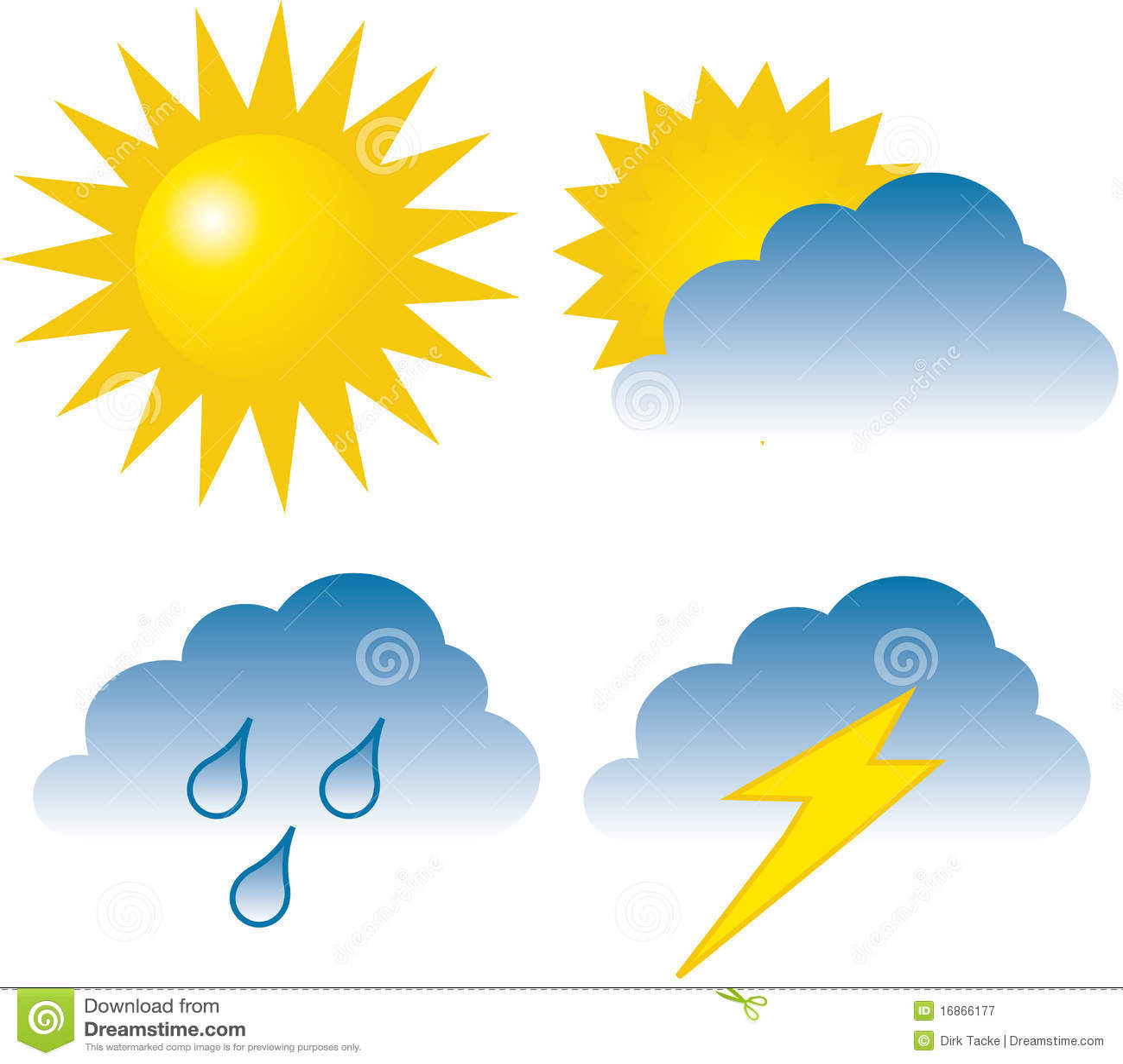 hight resolution of 4 weather icons sunny overcast rain lightning