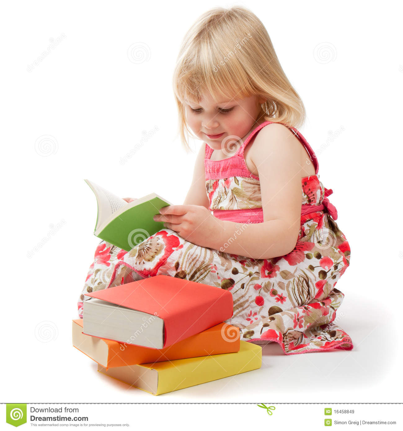 4 Year Old Girl Reading Stock Image Image Of Stack