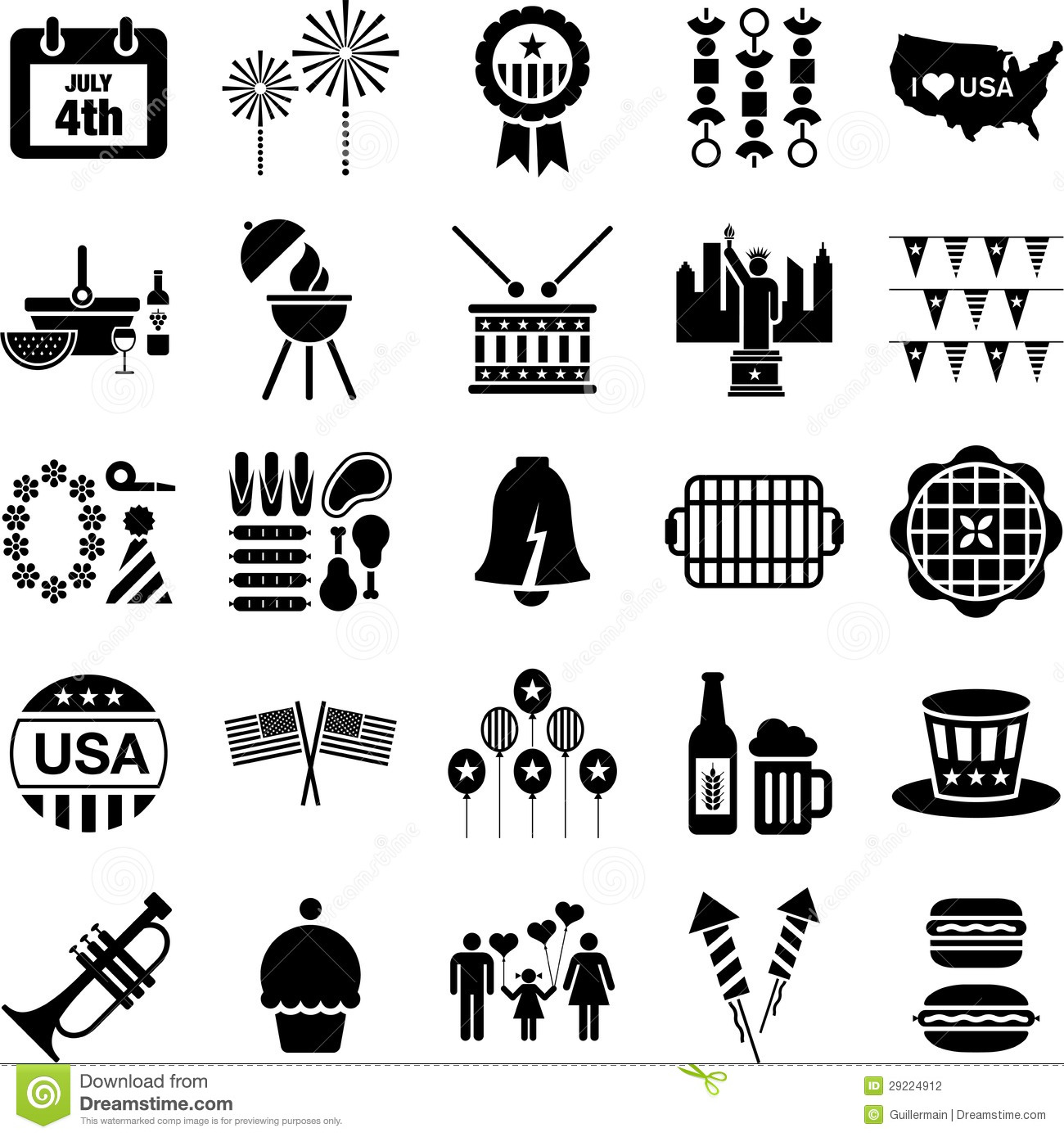 4th July Icons Stock Photography