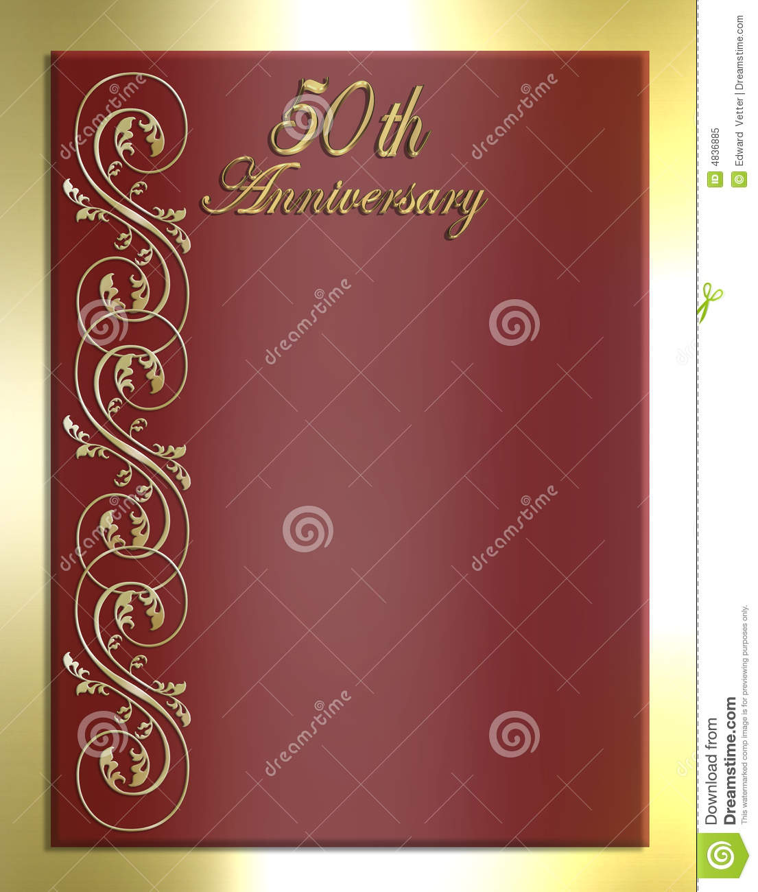 Red And Gold 50th Wedding Invitations
