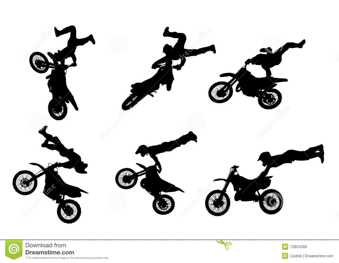 6 High Quality Freestyle Motocross Silhouettes Stock