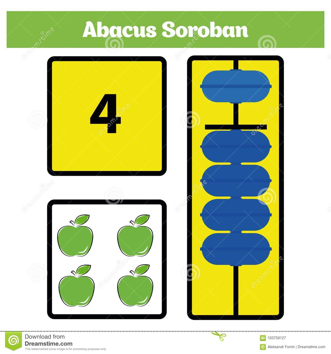 Abacus Soroban Kids Learn Numbers With Abacus Math Worksheet For Children Vector Illustration