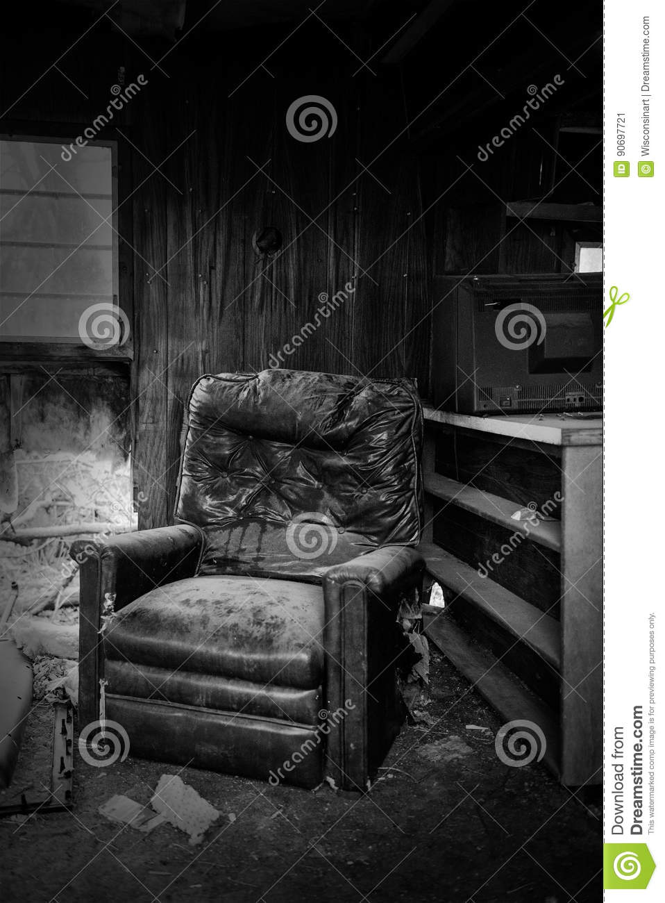 sofa bad leather with storage abandoned empty old desolate house editorial photo - image ...