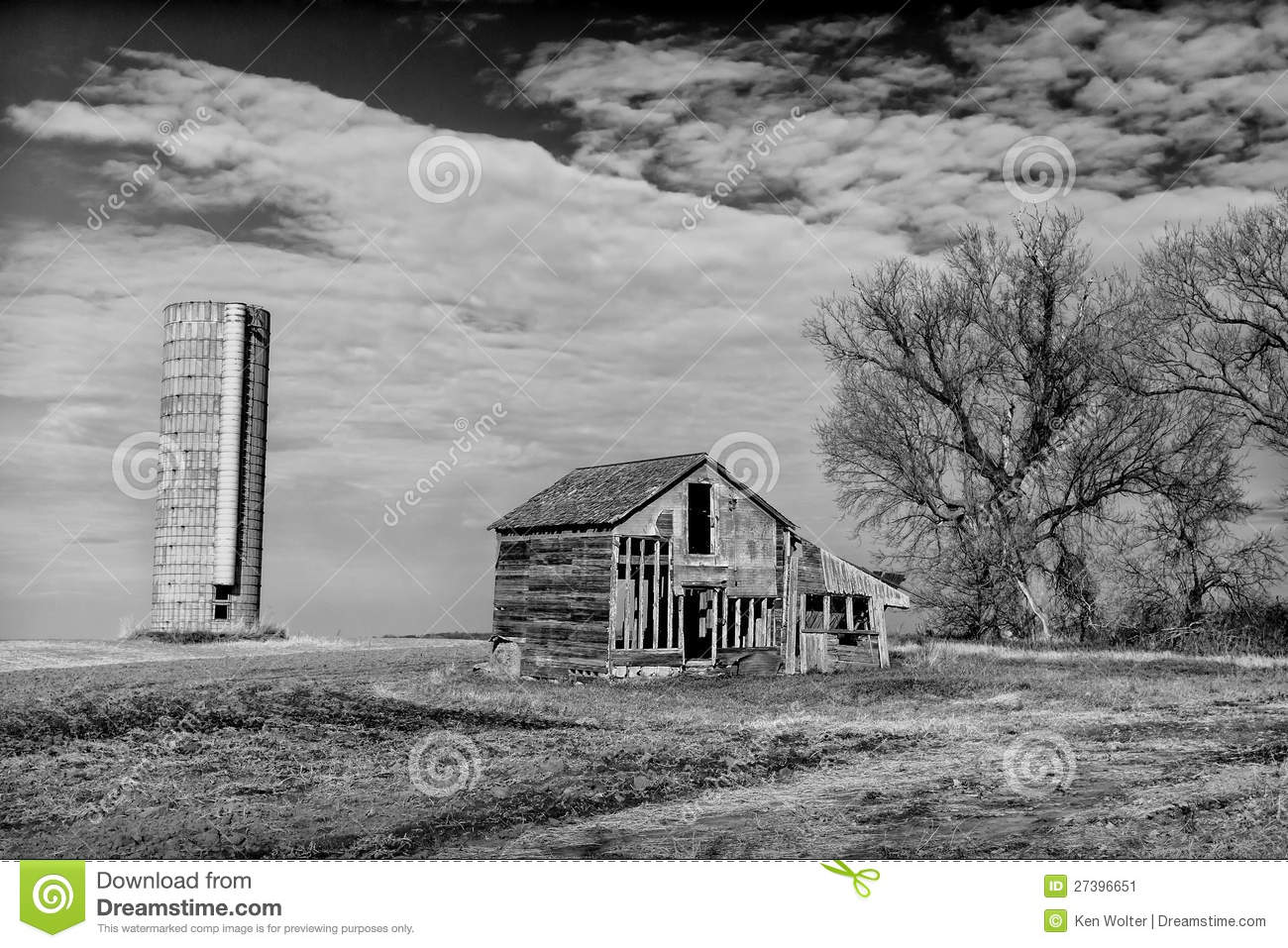 Abandoned Farmhouse And Silo In Black And White Stock