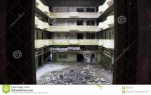 Abandoned Hotel Interior In Sao Miguel Azores Stock