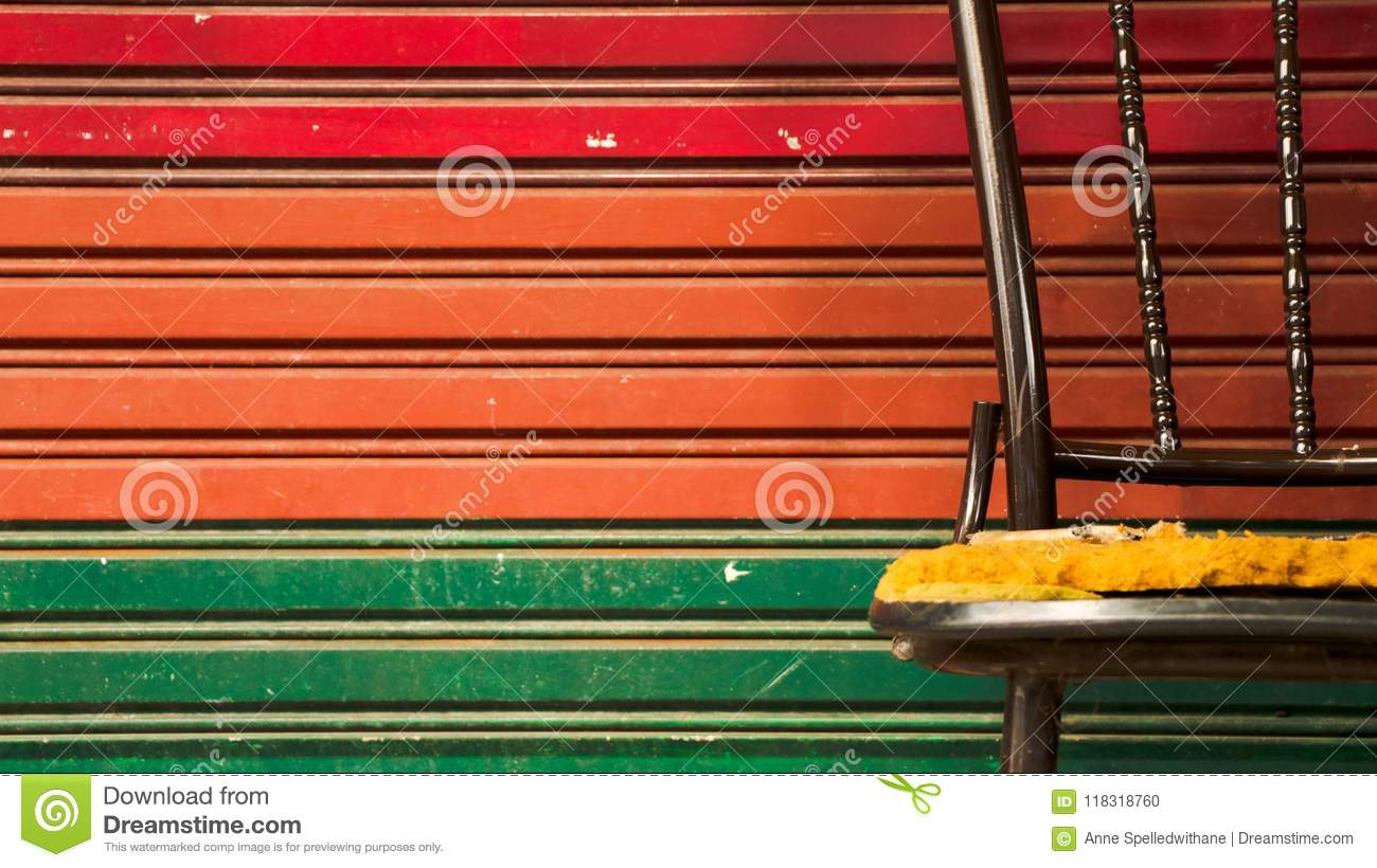corrugated steel chair rail ems stair abandoned vintage metal with colorful roller shutter door iron background