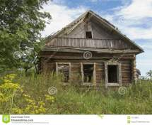 Abandoned Wooden House In Russian Village Stock