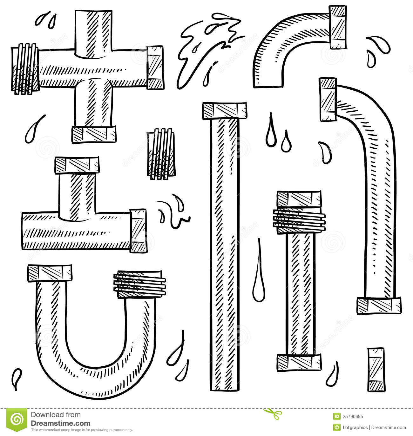 Abbozzo Dei Tubi Di Acqua Illustrazione Vettoriale