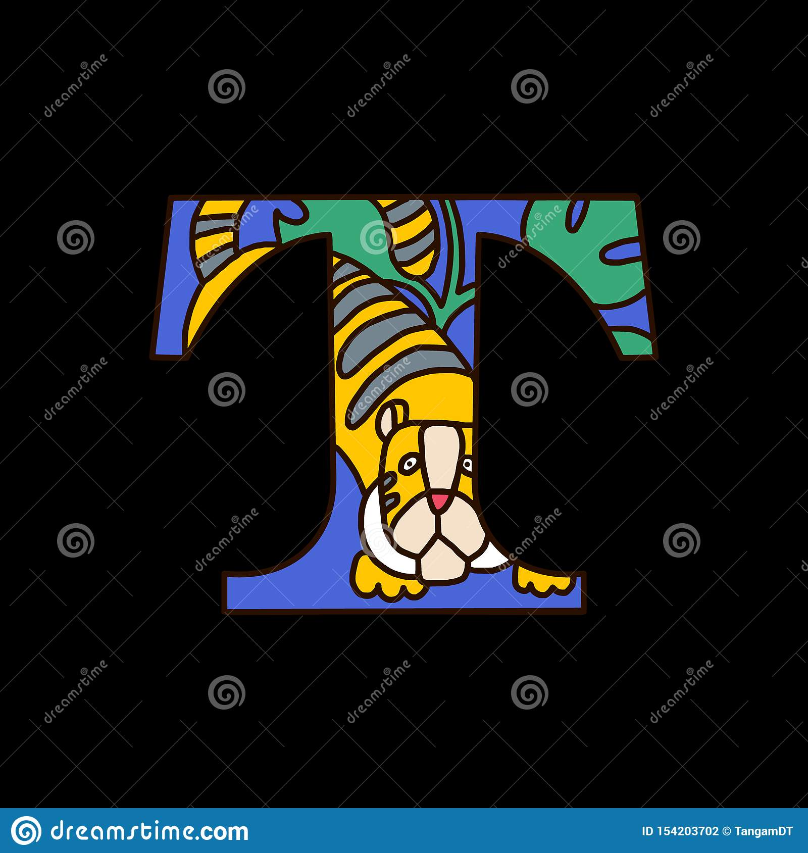 Serif Alphabet Letter T With Doodle Tiger Stock Vector
