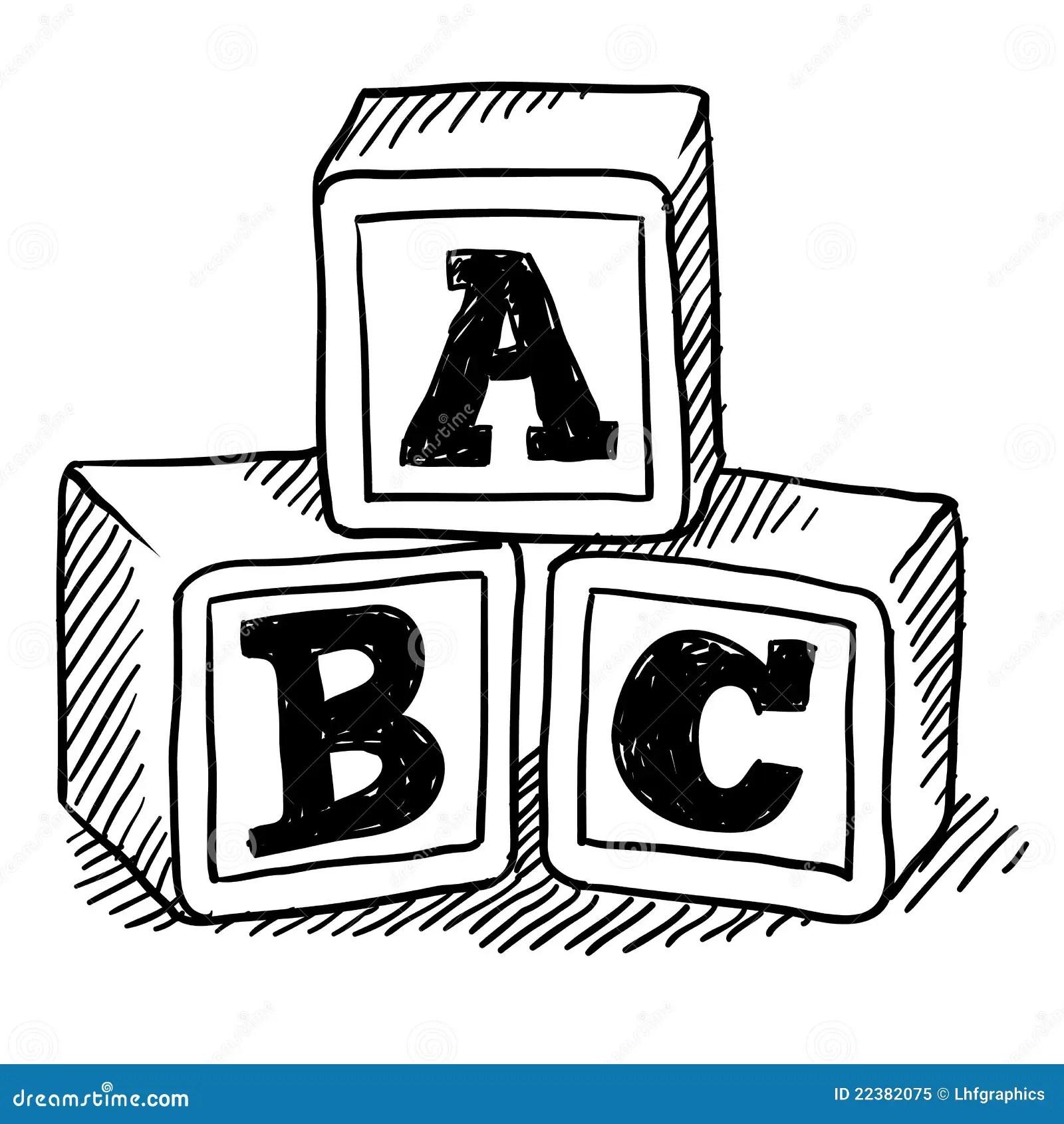 ABC blocks sketch stock vector. Illustration of drawing