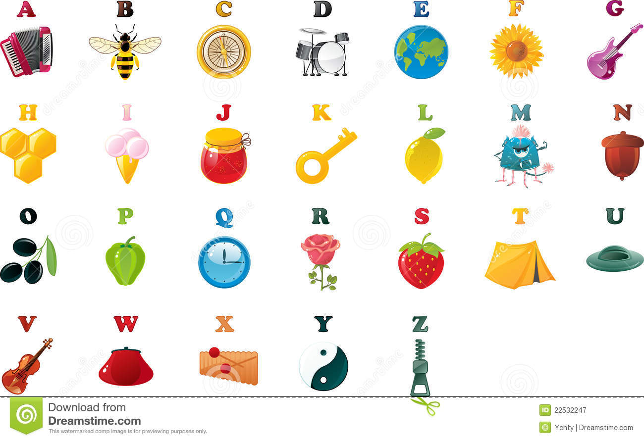 Abc Book Alphabet With Pictures In Vector Stock Vector