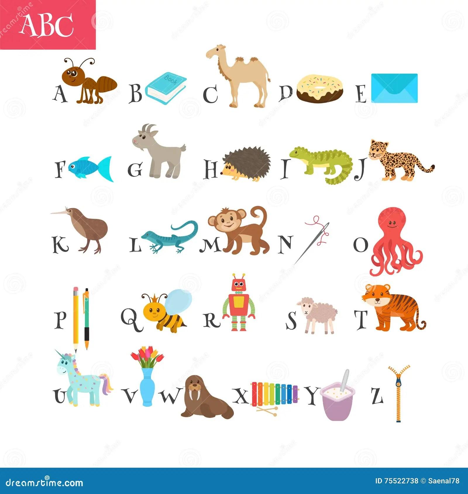 Abc Cartoon Vocabulary For Education Children Alphabet