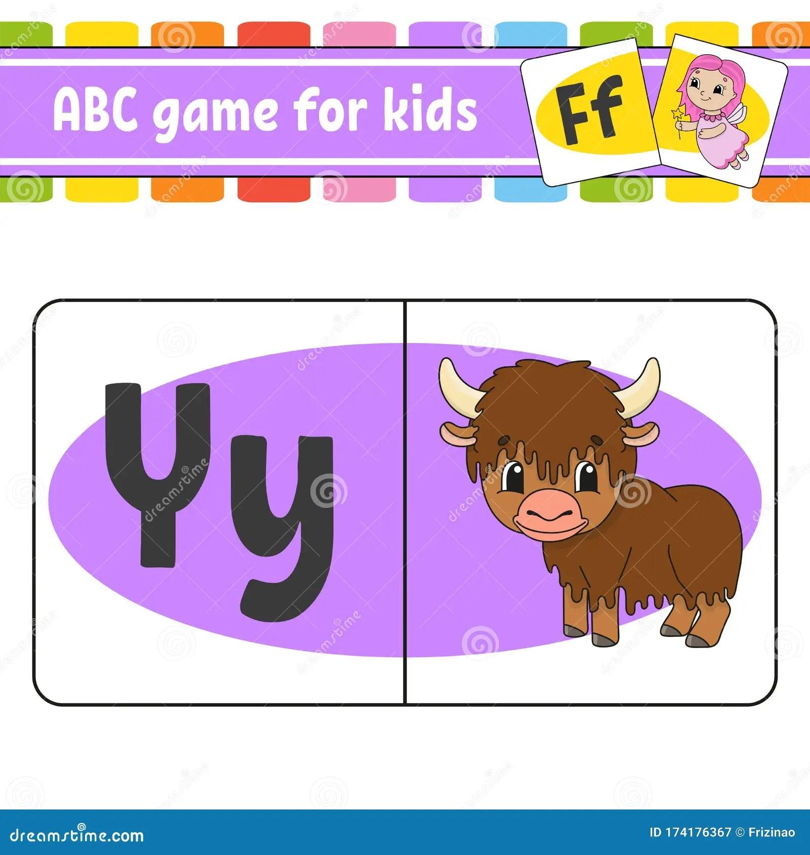 Abc Flash Cards Animal Yak Alphabet For Kids Learning