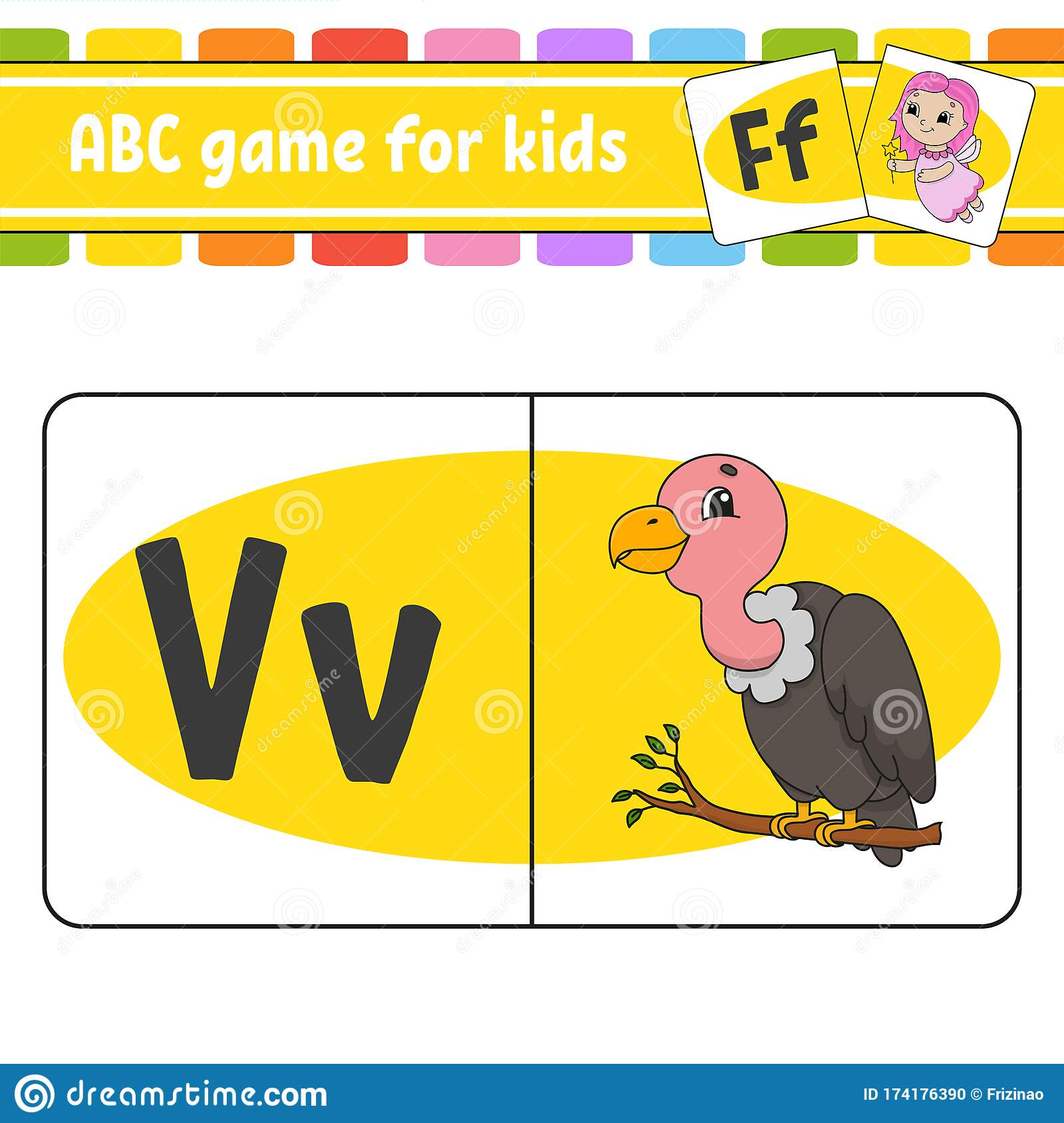 Abc Flash Cards Bird Vulture Alphabet For Kids Learning